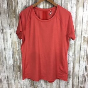 Lucy L Orange short sleeve workout tee shirt vent